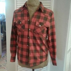 Buffalo plaid ladies button up shirt